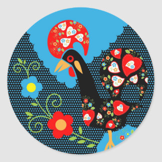 Portuguese Rooster Classic Round Sticker