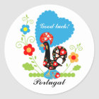 Portuguese Rooster of Luck Classic Round Sticker