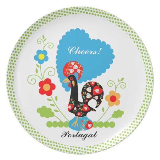 Portuguese Rooster of Luck Melamine Plate