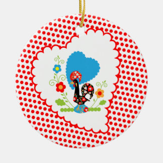 Portuguese Rooster with red polka dots Ceramic Ornament