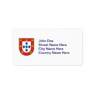 Portuguese shield personalized address labels