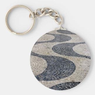 Portuguese sidewalk basic round button keychain