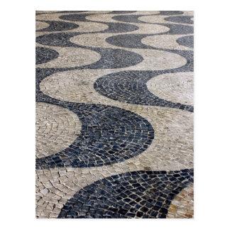 Portuguese Sidewalk, Lisbon, Portugal Postcard