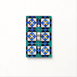 Portuguese Square Tiles Light Switch Plate