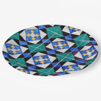 """Portuguese Square Tiles Paper Plates 9"""""""