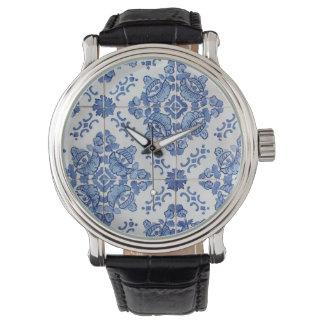 Portuguese Tile Black Vintage Leather Watch