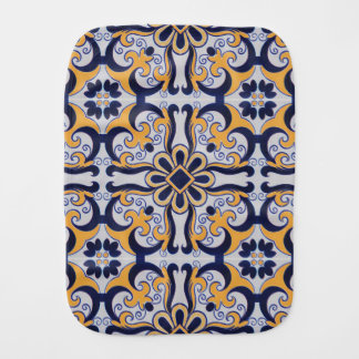 Portuguese tile pattern burp cloth