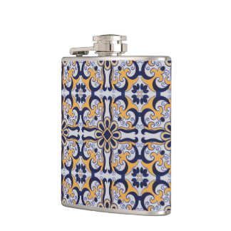 Portuguese tile pattern hip flask
