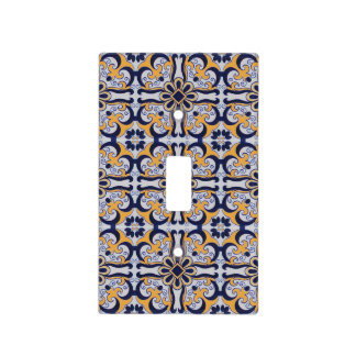 Portuguese tile pattern light switch cover
