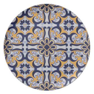 Portuguese tile pattern plate