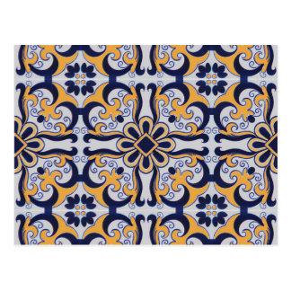 Portuguese tile pattern postcard