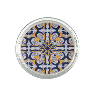 Portuguese tile pattern rings