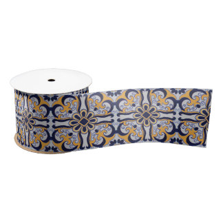 Portuguese tile pattern satin ribbon