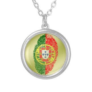 Portuguese touch fingerprint flag silver plated necklace
