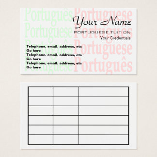 Portuguese Tutor Appointment Business Cards