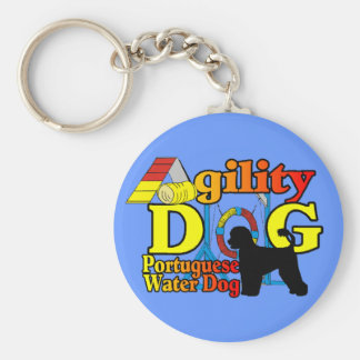 Portuguese Water Dog Agility Basic Round Button Keychain