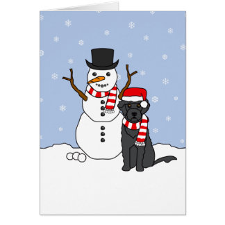 Portuguese Water Dog and Snowman Greeting Card
