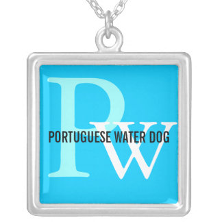 Portuguese Water Dog Breed Monogram Silver Plated Necklace