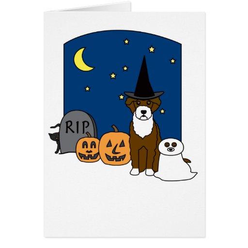 Portuguese Water Dog Halloween Card
