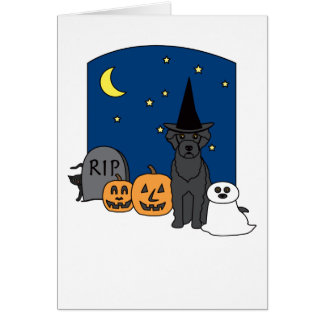 Portuguese Water Dog Halloween Card