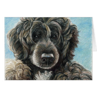 Portuguese Water Dog Original Art Notecard