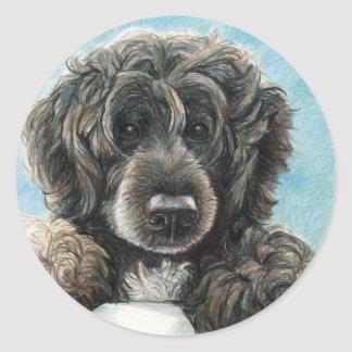 Portuguese Water Dog Original Art Stickert Round Sticker