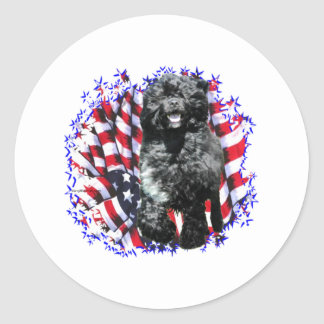 Portuguese Water Dog Patriot Classic Round Sticker