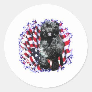 Portuguese Water Dog Patriot Round Sticker