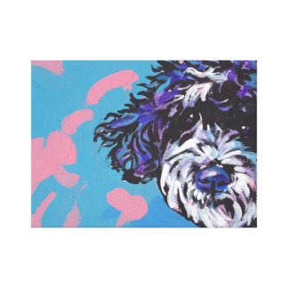Portuguese Water Dog pop art wrapped canvas