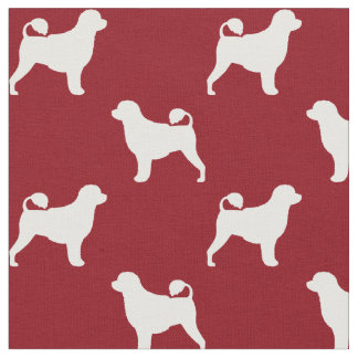 Portuguese Water Dog Silhouettes Pattern Red Fabric
