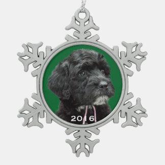 Portuguese Water Dog Snowflake Ornament Green