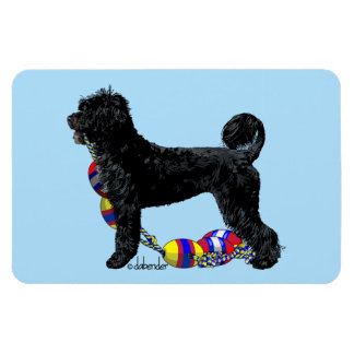 Portuguese Water Dog Standing with Float Line Magnet