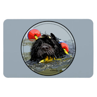 Portuguese Water Dog Swimming with Float Line Magnet