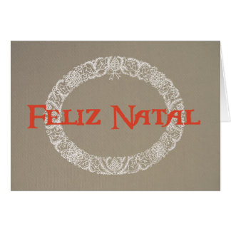 Portuguese White Christmas Wreath Red on Burlap Card