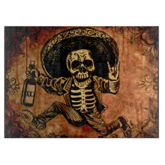 Posada day of the dead Outlaw glass cutting board