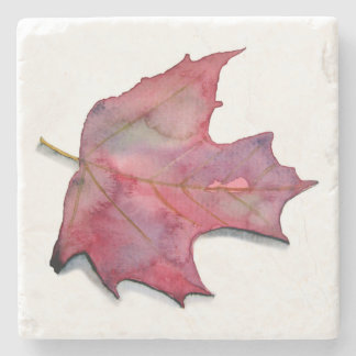 Posavasos stone with watercolor of autumnal leaf stone coaster