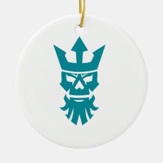 Poseidon Skull Wearing Crown Icon Ceramic Ornament