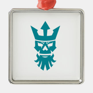 Poseidon Skull Wearing Crown Icon Metal Ornament