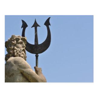 Poseidon Statue in Barcelona Spain Postcard