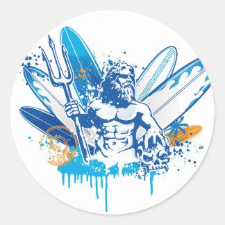poseidon surfer classic round sticker