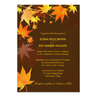Posh Autumn Brown Maple Leaves Wedding Card