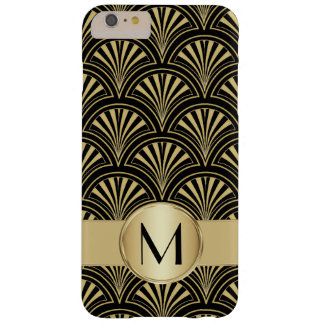 Posh Black and Gold Deco Fans Monogrammed Barely There iPhone 6 Plus Case