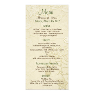 Posh Cats Ivory Wedding Menu Picture Card