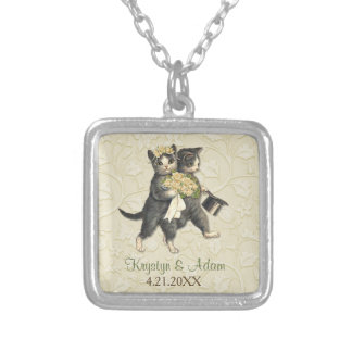 Posh Cats Wedding Ivory Square Pendant Necklace