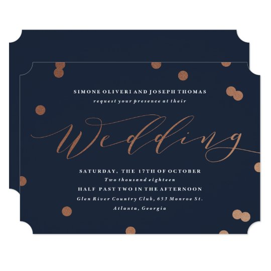 Posh confetti faux foil wedding invitation