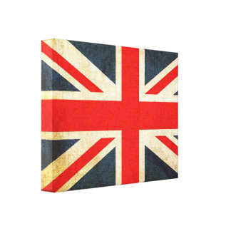 Posh Grunge Union Jack Wrapped Canvas Print