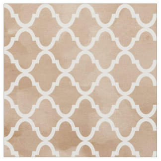 Posh Hazelnut Tan Watercolor Quatrefoil Pattern Fabric