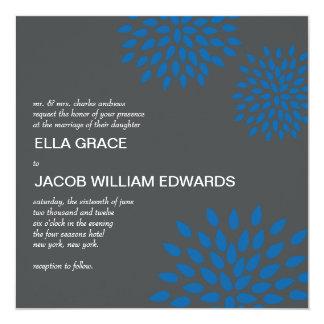 """Posh Petals   Cerulean   Wedding Invitation 5.25"""" Square Invitation Card"""