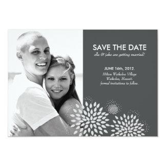 """Posh Petals   Silver   Save the Date 5"""" X 7"""" Invitation Card"""