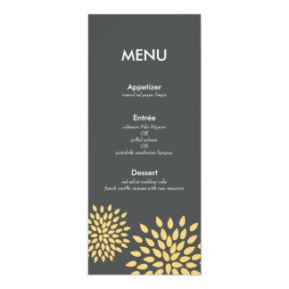 "Posh Petals   Sunshine   Reception Menu Card 4"" X 9.25"" Invitation Card"